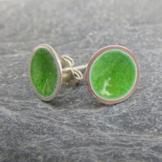 thistledown wishes green enamel stud earrings