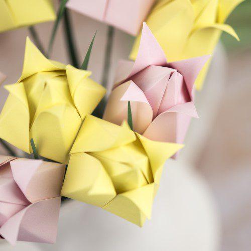 origami paper tulips close up