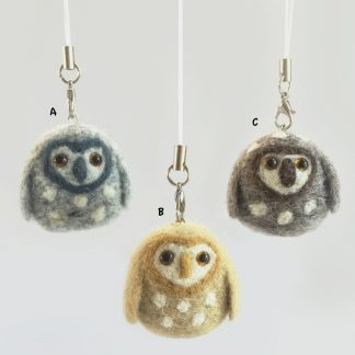 needle felted owl bag charms