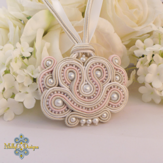 Pink silver soutache beaded necklace MollyG Designs unique handmade jewellery