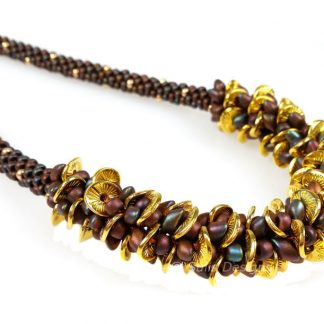 Handcrafted Brown and Gold Legana Kumihimo Necklace