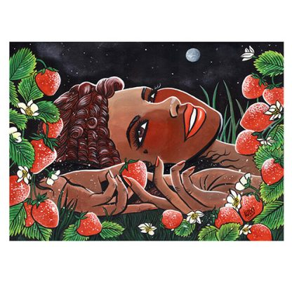 'Sally in the Strawberry Patch' original painting by Mel Langton Art