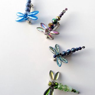 Glass bead dragonfly brooch