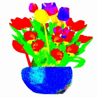 Colourful Tulips in a Blue Vase