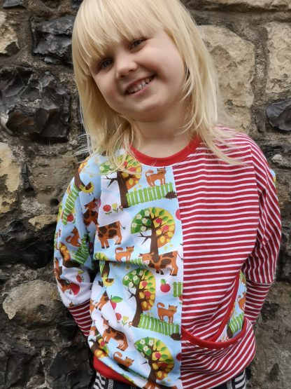 child in colour blocked organic cotton top