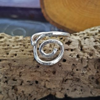 silver textured spiral ring