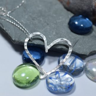 Beautiful, Handcrafted Silver Heart Pendant with Unusual Texture
