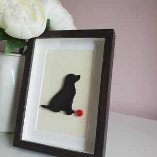 paper quilling dog and ball picture