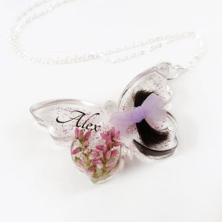 Butterfly lock of hair keepsake jewellery memorial gift loss of mum dad child nan