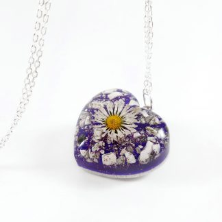 creamtion ashes pendant necklace jewellery urn with daisy