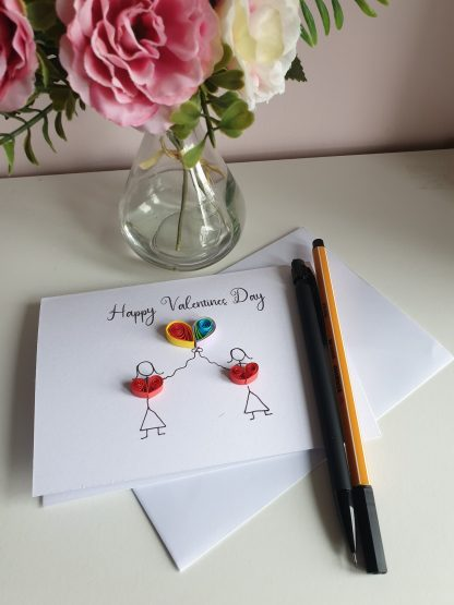 LGBT Valetines day card, stick couple