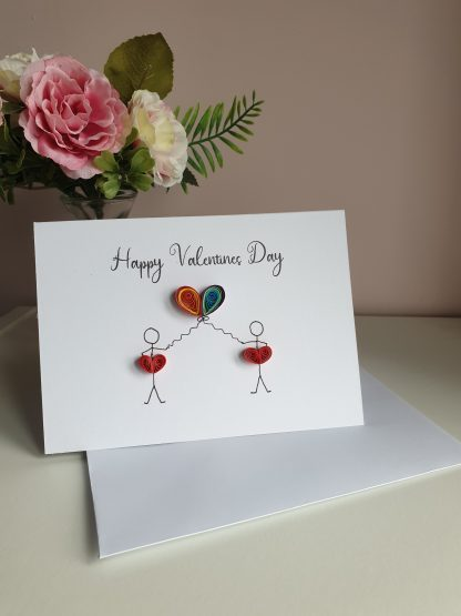 LGBT Valentines day card, LGBT couple, Paper quilling