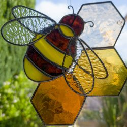 Copper foil bee on honeycomb