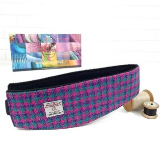 harris tweed headband earwarmer jade, pink and purple