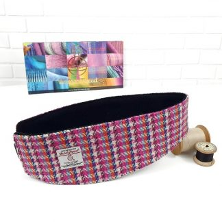 harris tweed headband earwarmer pink and white striped