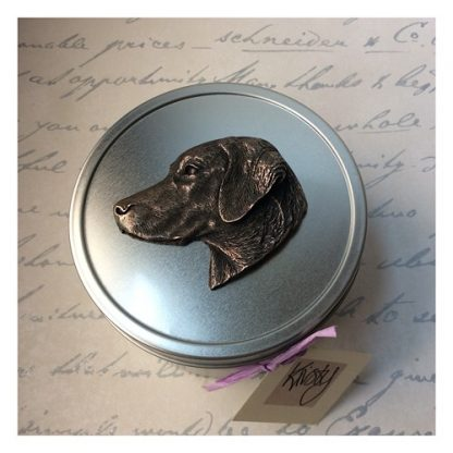 Labrador treat tin with metal dog's head sculpture on lid