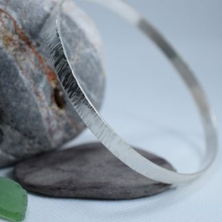 Handcrafted Silver Bangle with Grooved Texture