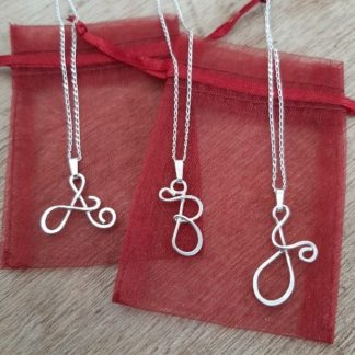 silver letter pendant personalised