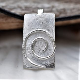 Solid Silver Spiral Pendant with Reticulated Texture