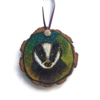 Badger on woodslice painting
