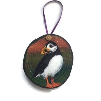 Puffin art on wood slice painting