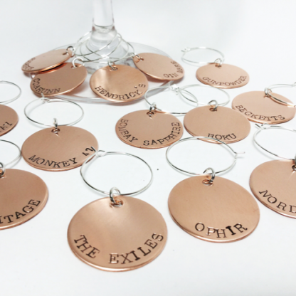 Copper wine charms with gin words