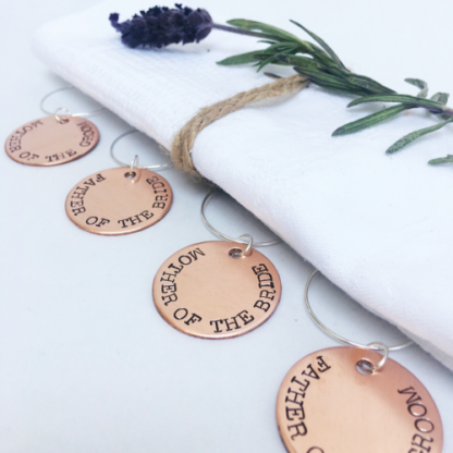Wedding party wine charms