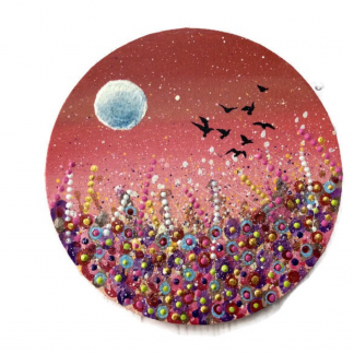 Circle art flowers , moon , birds by Sixpenny Studio