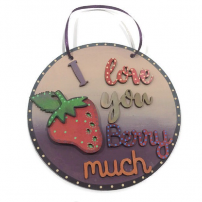 Funny valentines wood sign from Sixpenny Studio I Love You Berry much