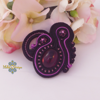 Black purple soutache heart brooch MollyG Designs unique handmade jewellery