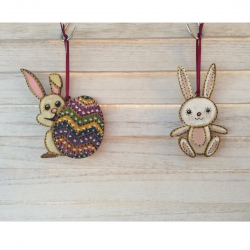 Easter decorations hanging by Sixpenny Studio bunny & egg