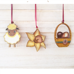 Easter decorations hanging by Sixpenny Studio Sheep , basket ,daffodil