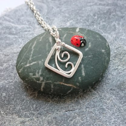 thistledown wishes sterling silver fern necklace