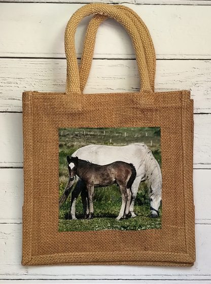 small jute bag with ponies photo