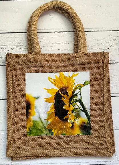small jute bag with sunflowers photo