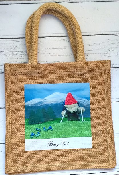 small jute bag with Busy Ted photo