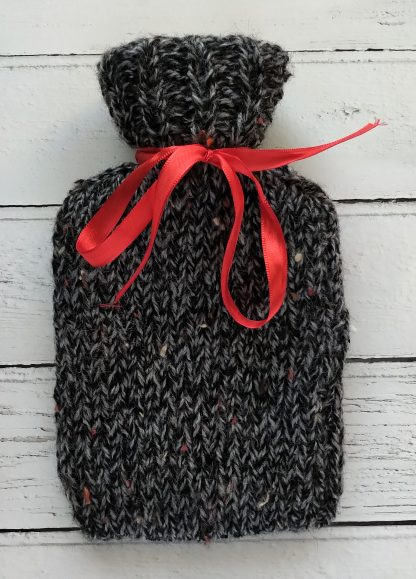 mini hot water bottle cover in grey fleck