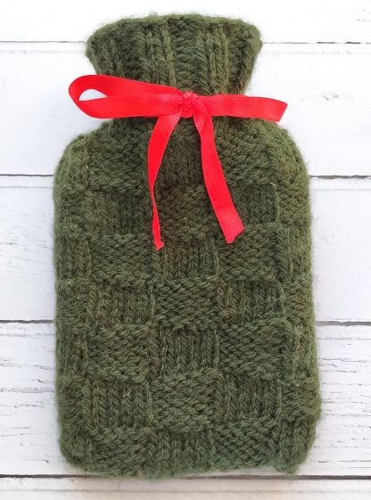 mini hot water bottle cover in green