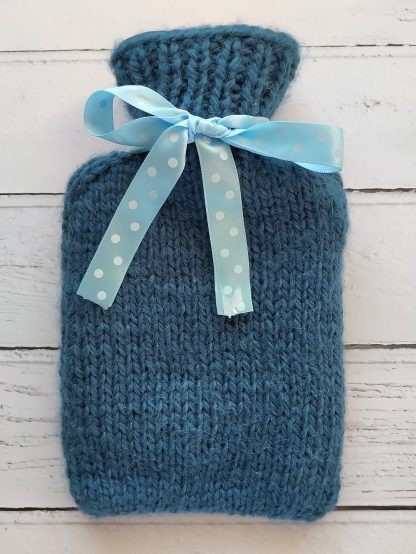 mini hot water bottle cover in blue