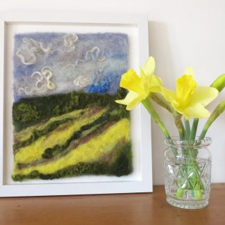 Daffodil Fields is a handmade needle felt painting. Louise Hancox Textile Artist