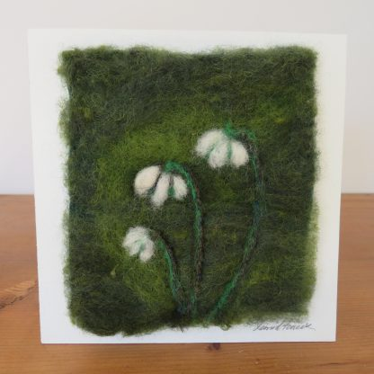 Unframed close up detail of snowdrops. Handmade needle felt painting by Louise hancoxTextile Artist