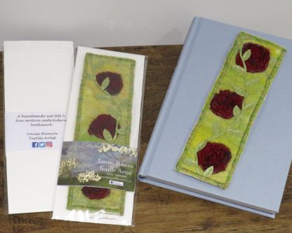 Shows handmade wet felt bookmark with red roses for Valentines Day by Louise Hancox Textile Artist