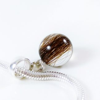 Sphere hanginf charm for Pandora bracelet with lock of hair memorial jewellery keepsake