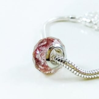 pink faceted diamond European pandora bead lock of hair bracelet keepsake