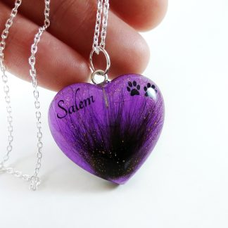 Personalised Custom Pet Hair Memeorial Pendant Purple