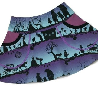 Purple and black organic cotton childrens skirt