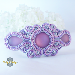 Lilac soutache barrette MollyG Designs hair clip. Unique handmade hair accessories