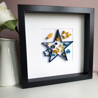 Paper quilling star, nursery decor, wall art, star picture, paper art, baby shower gift, christening, new baby gift,