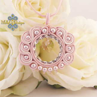Pink soutache heart necklace MollyG designs unique handmade jewellery