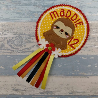 Sloth Birthday Badge - Personalised Gift